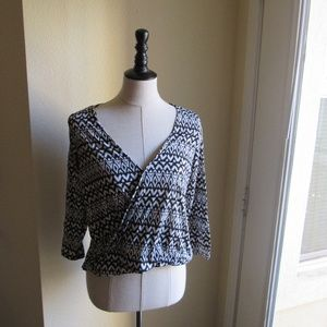 H&M Black and White Patterned Wrap Front Top